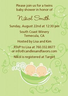 Twins Two Peas in a Pod Caucasian - Baby Shower Invitations 2 Boys
