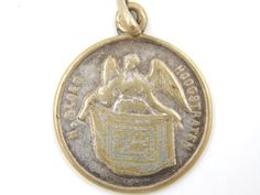Vintage Dutch Procession of Holy Blood Catholic Medal - Hoogstraten, Belgium Religious Charm - Angel Medallion by LuxMeaChristus