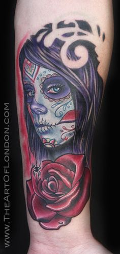 Brittan London Reese - Day of the Dead Girl w Rose Tattoo