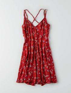 AEO Cross-Back Flowy Dress , Rust | American Eagle Outfitters