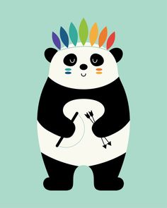 Be Brave Panda Art Print by Andy Westface - X-Small Art And Illustration, Decoration Creche, Latest Cartoons, Panda Art, Black And White Background, Panda Love, Floral Pillows, Nursery Art, Framed Art Prints