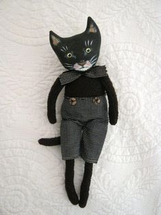 little cat art doll sandy mastroni black cat art by sandymastroni Fabric Toys, Cat Fabric, Fabric Art, Fabric Animals, Sock Animals, Cat Crafts, Doll Crafts, Stuffed Animals, Black Cat Art