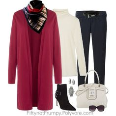 Winter White and Cranberry by fiftynotfrumpy on Polyvore featuring Warehouse, Helmut Lang, Uniqlo, GUESS, Nine West, BKE, Lipsy, Vielma, Lauren Ralph Lauren and Merona