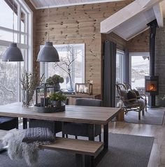 scandinavian cabin in the woods wood paneled modern chalet log home woods modern and cabin scandinavian wood cabins House Design, Rustic House, Cabin Interiors, Modern Cabin, Home, Trendy Living Rooms, Cabin Decor, Log Homes, Home Decor
