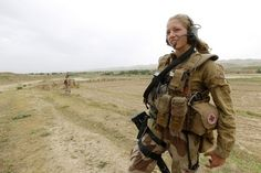 Norwegian soldier out on patrol in Afghanistan. Note the distinct pad on the stock of her H 416 rifle. Norway was one of the first European nations to adopt the 416.