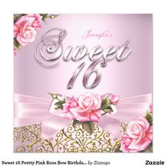 Sweet 16 Pretty Pink Rose Bow Birthday Party Invitation