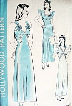1940s  Hollywood 1247 Vintage Sewing Pattern Pin Up Slinky Bias Cut Nightgown Pattern 3 Glam Styles Lingerie Very Easy To Sew Bust 34