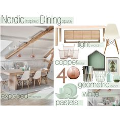 Nordic Inspired Dining Space by reddotdaily on Polyvore featuring interior, interiors, interior design, home, home decor, interior decorating, Objekten, ferm LIVING, Muuto and Dansk
