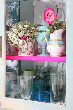 Paint one shelf to bright it up!
