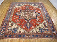 "Persian: Geometric 12' 8"" x 9' 8"" Antique Serapi at Persian Gallery New York - Antique Decorative Carpets & Period Tapestries"