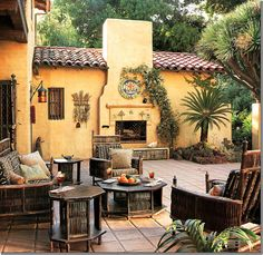 A Los Feliz, CA, Spanish-revival house designed in 1922 by architect Stiles O. Clements, photographed in 1998 for AD during Tim Curry's residency.