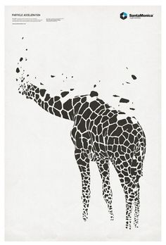 Shape, texture, space  (Similar shapes have been placed together in order to create the overall shape of a giraffe. The variety of sizes of these shapes creates texture - eg. closer to the feet. A feeling of space is shown by means of the shapes being seperated fromt the whole)