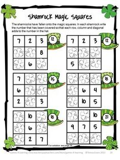 Shamrock Magic Squares from St. Patrick's Day Math Games, Puzzles and Brain Teasers  from Games 4 Learning. $ It is loaded with St. Patrick's Day math fun.