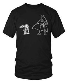 e1327ac50c Darth Vader Walking a Pesky AT-AT on a Leash Funny Star Wars T-Shirt Small