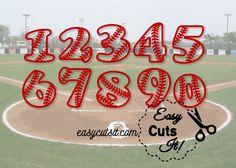 Baseball or Softball Numbers ~ SVG, DXF, EPS, PDF & Studio