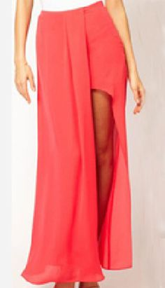 Coral Split Front Irregular Chiffon Maxi Skirt - Sheinside.com