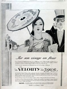 La Velouty De Dixor, original art deco advertising, vintage French cosmetics poster from French magazine of 1929 - pinned by pin4etsy.com