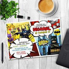 Se trata de una invitación de cumpleaños de Batman de Lego. DETALLES: __________________ Ofrecido a usted en archivo digital (formato JPEG 300dpi) que va ser completamente modificado para requisitos particulares con su información. El tamaño de la invitación es de 4 x 6 El archivo