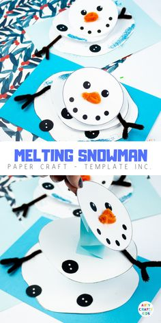 Arty Crafty Kids - Melting Snowman Paper Craft, with a handy printable template included. A fun and easy snowman craft that really melts! Make its head wobble and body shrink into the paper Crafts winter Melting Snowman Paper Craft Winter Crafts For Kids, Paper Crafts For Kids, Winter Kids, Crafts For Kids To Make, Snowman Crafts For Preschoolers, Snowman Craft Preschool, Winter Preschool Crafts, Diy Crafts, Christmas Paper Crafts
