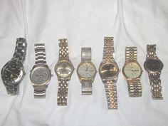 Lot  7 Men's Watch Wrist Watches Quartz Not Running Benrus Seiko Citizen Fossil #FossilSeikoBenrusetc