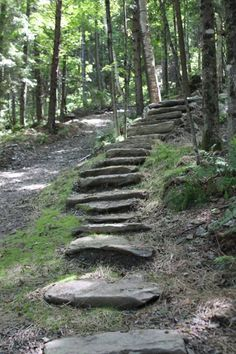Stone Steps Give The Backyard A Rustic Look Landscaping