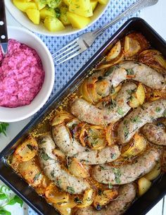 Kiełbasa pieczona z cebulą w pysznym sosie Quick Recipes, Light Recipes, Pork Recipes, Cooking Recipes, Kids Meals, Easy Meals, Kielbasa, Polish Recipes, Easter Recipes