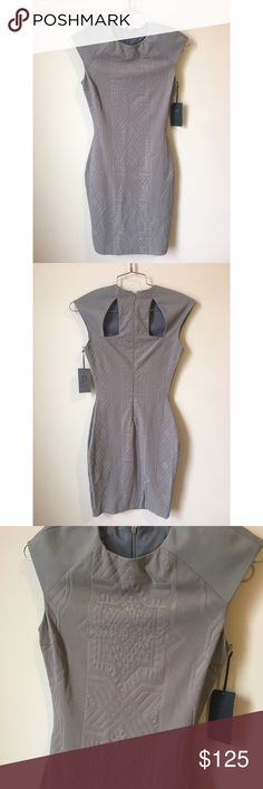 • Lapina by David Helwani gray cutout dress size S Brand new with tags. Cutouts and beautiful design. Stretch. 88% nylon /12% spandex. Lining: 100% polyester. No trades. Lapina by David Helwani  Dresses Midi