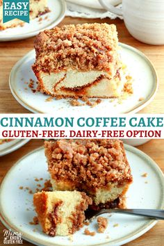 An easy recipe for gluten-free cinnamon coffee cake. A soft and buttery cake with a cinnamon filling and cinnamon sugar crumb topping. This gluten-free cake recipe also includes a dairy-free option. Gluten Free Deserts, Gluten Free Recipes For Breakfast, Gluten Free Sweets, Gluten Free Cakes, Gluten Free Chocolate, Gluten Free Baking, Dairy Free Recipes, Gluten Dairy Free, Dairy Free Desserts