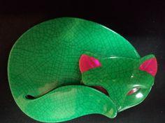 Vintage Lea Stein Green Cat.