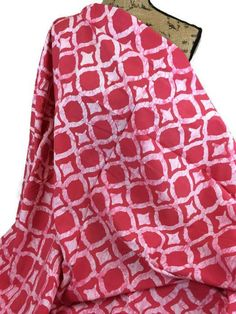 African Batik Print Fabric by the HALF YARD. Hand Dyed in Ghana. I just cant get enough pink! This Bright Pink and White Ikat pattern batik makes me smile! This is a handmade, fair trade batik fabric produced by the women of the Global Mamas Batking and Sewing Centers in Ghana. Bold,