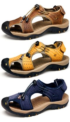 competitive price 3b54c 68cee Large Size Men Stitching Genuine Leather Anti-collision Toe Lace Up Outdoor  Beach Sandals