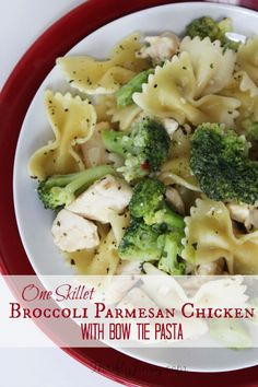 Skillet Broccoli Parmesan Chicken with Bow Tie Pasta Recipe - Thrifty Jinxy