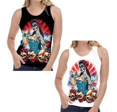 Velocitee Ladies Vest Day of the Dead Pin Up Skulls Horror Goth Tattoo W17035