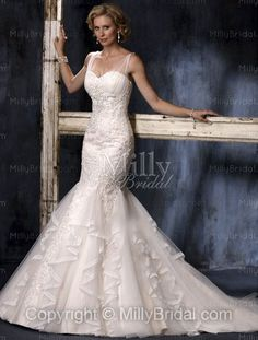 Trumpet/Mermaid Spaghetti Straps Lace Button Lace Chapel Train Wedding Dress