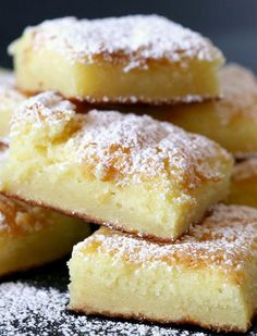 Lemon Cake Bars using just angel food cake mix and lemon pie filling - 14 Amazing Two-Ingredient Dessert Recipes via @PureWow