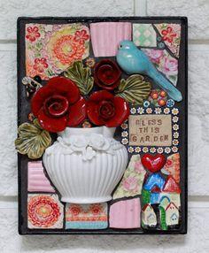 Mosiac art BLESS THIS GARDEN mixed media by Lisabetzmosaicart, $130.00