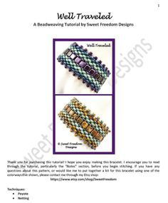 Beadweaving Tutorial Pattern Bracelet Superduo by SweetFreedom (kits are also available)