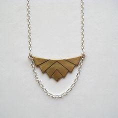 Brass Pendant Necklace Brass Chevron Geometric by juliegarland, $33.00