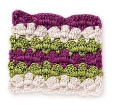 Free tutorial on Crochet Sclalop Stripes- This would be a great scarf or baby blanket!.