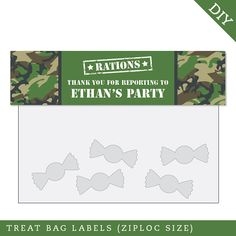Camo or Army Party Personalized DIY printable treat by Chickabug