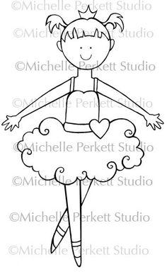 Digital Stamp Ballerina Girl Ballet Tutu