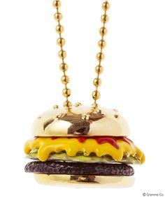 Full of tasty sauced Burger necklace <Ketchup & Mustard/Lettuce/Meat×Buns(Gold)>