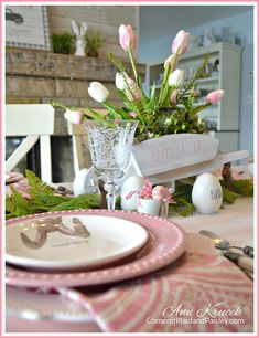 Easter Tablescape - Bunny Mischief - Tablescape Hop - Corner of Plaid and Paisley Easter Table, Easter Party, Easter Decor, Easter Ideas, Red Cottage, Chocolate Bunny, Easter Traditions, Easter Holidays, A Table