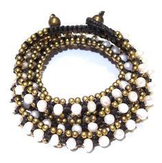 serefina セレフィーナ ブレスレット triple wrap bracelet pearl トリプル ホワイト パール ラップブレスレット