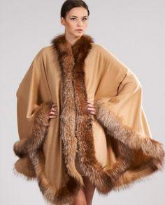 ebd7bd829d9 Butterscotch Genuine Cashmere Wrap with Crystal Fox Fur Detail Cashmere  Cape