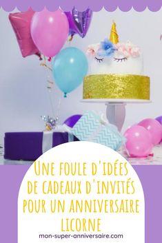 Retrouve nos supers idées de petits cadeaux d'invités pour un anniversaire licorne. De quoi ravir tous les participants ! Birthday Cake, Desserts, Small Paper Bags, Goody Bags, Candy Bars, Tailgate Desserts, Deserts, Birthday Cakes, Postres