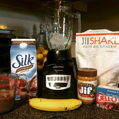 """@Revolt_Fitness (Insta) """"This is my hands down favorite shake.  1 cup ice, 1 scoop #310shake vanilla mix, 1/2 banana, 1 cup Silk light chocolate soy milk, 1 tbsp all natural peanut butter, 1/4 packet of chocolate fudge jello mix... And BOOM. Taste like brownie mix/chocolate heaven!  @310nutrition"""""""