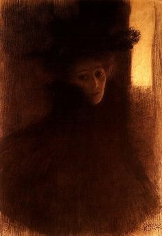 Gustav Klimt >> Lady with Cape #art #painting kinda cool and creepy at the same time