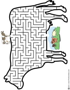 Cow Maze: Help the cow thru the maze to find the pasture.