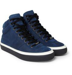Jimmy Choo - Belgravia Waxed-Suede High Top Sneakers   MR PORTER [Via Menswear Style]